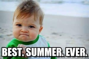Baby with a fist. Reads Best Summer Ever
